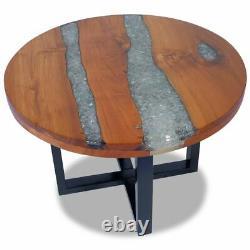 USA Table De Café En Bois De Teck Massif Résine Peinte À La Main Finition Couch Latéral