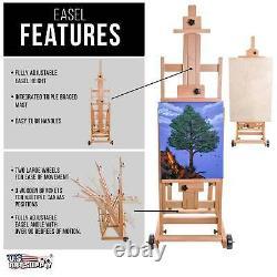 U. S. Art Supply Master Multi-function Studio Artiste Easel En Bois, Réglage H-frame