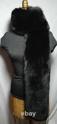 Véritable Écharpe En Fourrure De Renard Noir Boa Collier Bracelet Fling Nouveau Fabriqué Aux États-unis