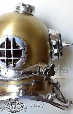 Vintage Antique Morse U. S Marine Plongeurs Casque Acier Massif Et Cadeau En Aluminium