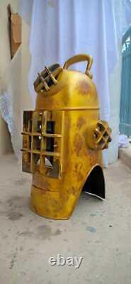 Vintage U. S Navy Plongeurs Casque En Acier Massif Pleine Taille 18 Plongée Hotte Cadeau